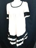 マーキュリーデュオ MERCURYDUO ワンピース チュニック ファスナー フリル 五分袖 F ピンク 黒 レディース 【ベクトル 古着】【中古】 160709