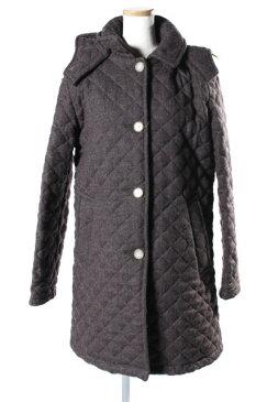【中古】 トラディショナルウェザーウェア Traditional Weatherwear コート 中綿 ステンカラー フード ツイード キルティング ウール 36 茶 ブラウン /☆y0419 レディース 【ベクトル 古着】 190419