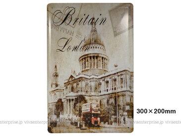 同梱可 ブリキ看板 ブリキプレート 30cm×20cm(06) ロンドンの街並み