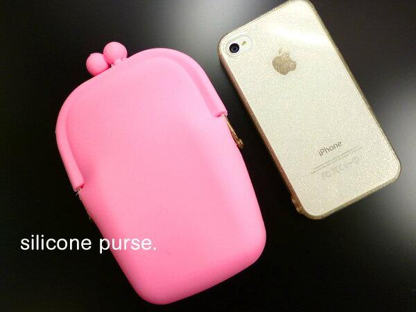 がまぐち 縦長シリコンケース ピンク 【がま口・iPhone・スマホケース・たばこ入れ】