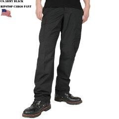 実物 新品 米軍 ブラック リップストップカーゴパンツ 軍用ブラックは手に入りにくい希少品 正…