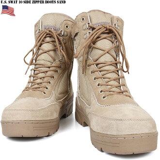 밀리터리 부츠 신품 미군 SWAT 10 사이드 지퍼 부츠 샌드 밀리터리 부츠 サバゲー 밀리터리 부츠 mss WIP 남성