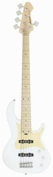AriaProII 5弦ベース RSBシリーズ WH RSB-618/5 ホワイト×ゴールドアノダイズドPG【新品】【送料無料】