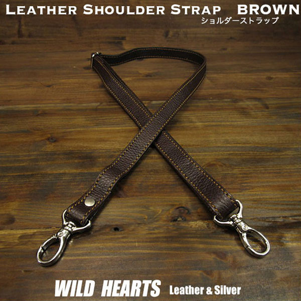 男女兼用バッグ, ボディバッグ・ウエストポーチ  Leather Genuine Cowhide Shoulder Strap Adjustable Strap BrownWILD HEARTS Leather Silver (ID st0128r72)