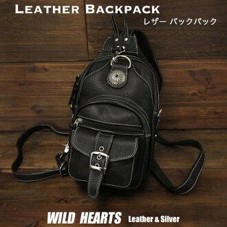 가죽 가방 여행 어깨 슬링 박스, 가방 2-WAY 블랙  Leather Backpack Travel Shoulder Sling Chest Bag 2-WAY Black WILD HEARTS Leather&Silver (ID bb2100t11)