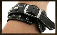レザーブレスレット/レザーリストバンド/牛革/黒/LeatherBracelet