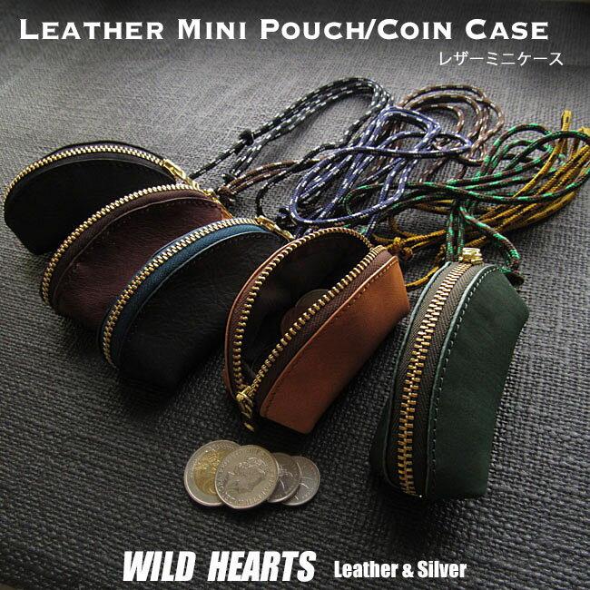 財布・ケース, メンズコインケース  5 Horsehide Leather Mini Pouch 5 ColorsWILD HEARTS LeatherSilver (ID cc333r100)