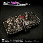iPhone6Plus/6sPlus手帳型レザーケース,レザーアイフォン6プラス/6sPlusケース,スカル,髑髏,カービング,Leather,iphone,6,plus,flip,case,WILDHEARTS