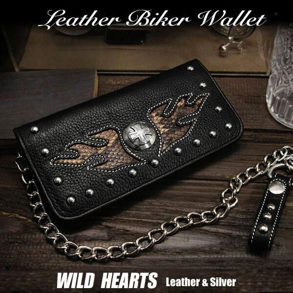 財布・ケース, メンズ財布  Genuine Cowhide Leather Biker Motorcycle Wallet Trucker Chain Black Harley-Style WILD HEARTS LeatherSilver (ID lw1379)