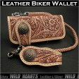 ロングウォレット 花柄カービング 革財布 サドルレザー ナチュラルタンGenuine Cowhide Leather Biker Wallet Western Scroll Carved Custom Handmade WalletWILD HEARTS Leather&Silver (ID lw3137)