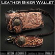 ロングウォレット 花柄カービング 革財布 サドルレザー ナチュラルタン&ブラウンGenuine Cowhide Leather Biker Wallet Western Scroll Carved Custom Handmade WalletWILD HEARTS Leather&Silver (ID lw3138)