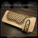 カービングライダーズウォレット フラワーカービングバイカーズウォレット Genuine Cowhide Leather Floral Biker Wallet  WILD HEARTS Leather&Silver (ID lw3490) 2