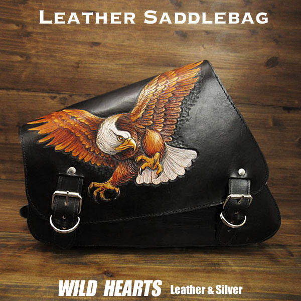 バッグ・ケース, サイドバッグ・サドルバッグ  Eagle Carved Leather Leather Swing Arm Saddlebag Harley Sportster XL Iron 883NForty-EightWILD HEARTS LeatherSilver (ID sb3807)
