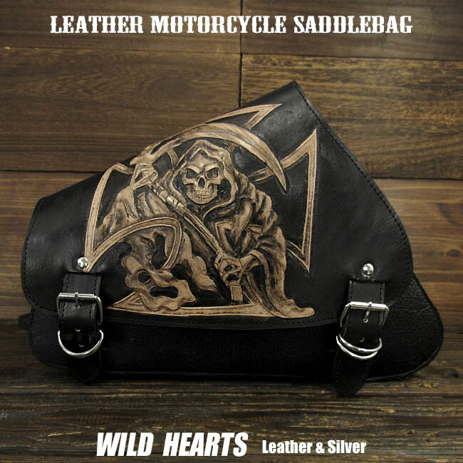 バッグ・ケース, サイドバッグ・サドルバッグ  Skull Carved Leather Leather Swing Arm Saddlebag Harley Sportster XL Iron 883NForty-EightWILD HEARTS LeatherSilver (ID sb3953)