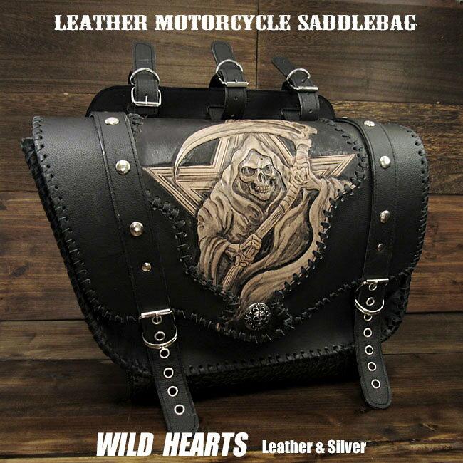 バッグ・ケース, サイドバッグ・サドルバッグ  Skull Grim Reaper Carved Leather Single Saddlebag Harley-Davidson Sportster iron 883Forty-Eight MotorcycleWILD HEARTS LeatherSilver (ID sb3483)