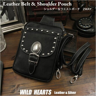 Leather Travel Shoulder Bag Pouch Case With Neck Strap Hip Bag Pouch Belt WILD HEARTS leather & silver