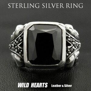 シルバーリング 印台リング ブラックジルコニアリング メンズ アクセサリー メンズスクエアカットリング Men's Ring Black Zirconia Punk Biker WILD HEARTS leather & silver(ID sr0796r297)
