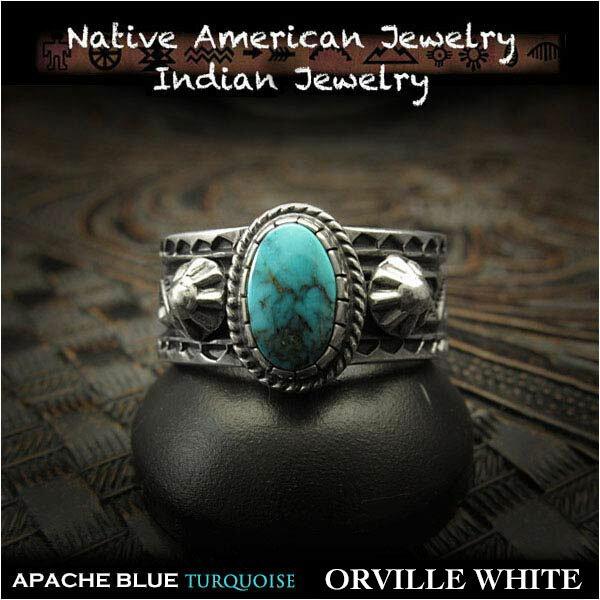 男女兼用アクセサリー, 指輪・リング  Orville White 25 925 Orville White ring USA size12 Apache Blue Turquoise Indian Jewelry Sterling Silver (ID na3200r73)