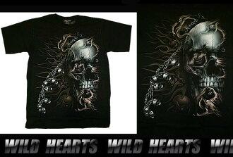男士黑色100%純棉T卹S / M / L/骷髏 Men's Black 100% cotton T-Shirts S/M/L/Skull  WILD HEARTS Leather&Silver (ID ts0838r18)