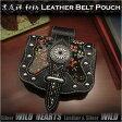 和柄 京友禅 ミニベルトポーチ ウエストポーチ スマホケース iPhone5/SEケース レザー 本革 ちりめん友禅Japanese traditional yuzen-dyed fabric & Leather Mini Belt Pouch iPhone5/SE CaseWILD HEARTS Leather&Silver (ID cc1335r39)