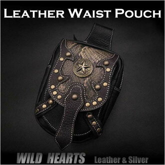 정품 소 가죽 허리 파우치 / 허리 가방 / 파우치 벨트 / 의학 가방 파이썬  Genuine Cowhide Leather Waist Pouch/Hip Bag/Pouch Belt/Medicine Bag  Python WILD HEARTS leather&silver(ID wp0874r44)