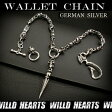 ウォレットチェーン クロス スカル wallet chain German Silver Jeans wallet key chain キーチェーン Skull and Cross WILD HEARTS Leather&Silver ( ID wc1818r6 )