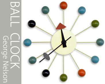 【コンビニ受取対応商品】ジョージネルソンデザイン 壁掛け時計 -ボールクロック- (カラフルマルチ) 送料無料