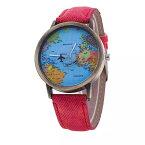 世界地図WorldTraveler飛行機ぐるぐる回るデニム風ベルトウオッチ腕時計Watchギフトプレゼント世界一周旅行