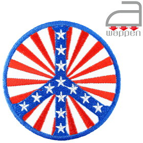 アイロンワッペン//ピースマーク×USA星条旗(アメリカヒッピー)
