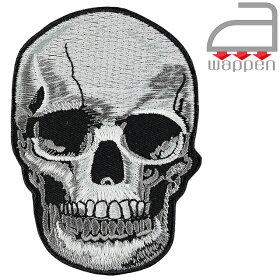 アイロンワッペン//スカル3Dデッサン調ハードコアシルバー色(アップリケSKULL)