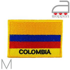 アイロンワッペン//コロンビア共和国国旗Mサイズ「COLOMBIA」文字入り(ボゴタアンデス)