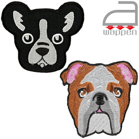 アイロンワッペン//フレンチ・ブルドッグ黒・ブラック(FrenchBulldog犬ドッグ)