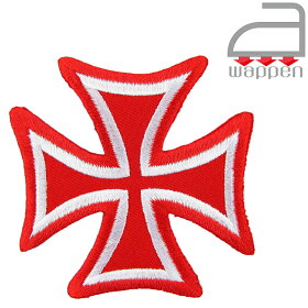 アイロンワッペン//Cross05クロスレッド赤×シルバー(刺繍十字架アイアン)
