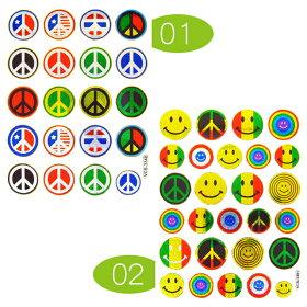 【ピース&スマイル】アクセントステッカー01ピースマーク02ピース&スマイルミックスキラキラ加工(PeaceSmileニコちゃんシールシート)