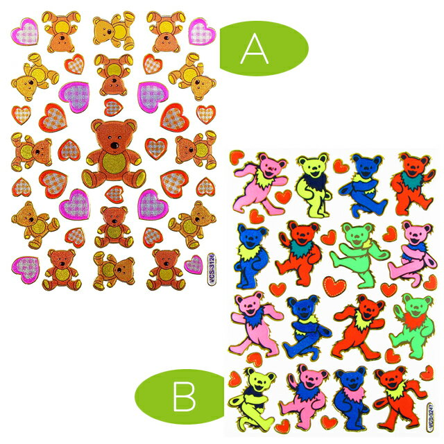 【BEAR】アクセントステッカー 〈A〉テディベア&ハート 〈B〉ダンシング・ベアー (Teddy bear クマのぬいぐるみ シールシート グレイトフル・デッド)