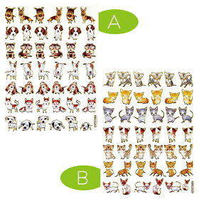 【生き物】アクセントステッカー〈A/犬〉〈B/猫〉(シールドッグキャットdogcat)