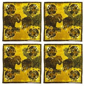 ●訳あり処分セール●4枚セットゼブラ模様白黒レギューラーサイズバンダナコットン100%(ZEBRAシマウマ手作りマスク材料生地端切れ布)