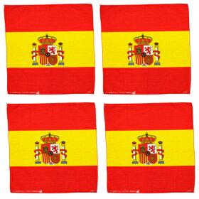 ●訳あり処分セール●4枚セットスペイン国旗SPAINレギューラーサイズバンダナコットン100%(エスパニョーラ)