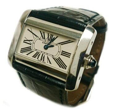 カルティエ Cartier タンク ミニディヴァン ディバン 腕時計 レディース クォーツ レザー 2599【質屋出店】【中古】