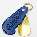 靴べら携帯シューホーン牛革KC,sケイシイズ本革キーホルダー真鍮タイプ1フリーカットブルーKPK041Fくつべらナスカン真鍮おしゃれキーホルダーキーリング