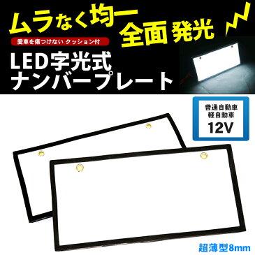 字光式ナンバープレート LED 前後2枚 全面発光 12V 普通車 軽自動車【あす楽】【配送種別:B】