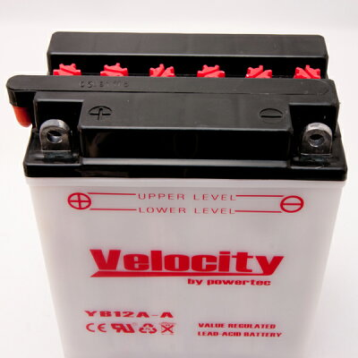 【Velocity】バイクバッテリーYB12A-AGM12AZ-4A-1FB12A-A互換対応1年保証開放式液別(液付属)