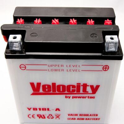 【Velocity】バイクバッテリーYB18L-AGM18A-3A互換対応1年保証開放式液別(液付属)