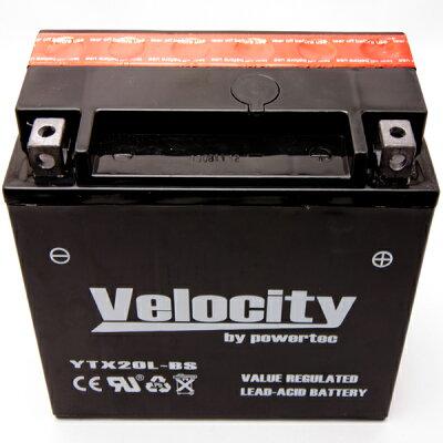 【Velocity】バイクバッテリーYTX20L-BSGTX20L-BSYTX20L-BS互換対応1年保証密閉式(MF)液別(液付属)
