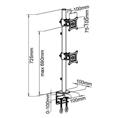 モニターアームデュアル2軸式13〜27インチ対応2面縦2枚【あす楽】【配送種別:B】