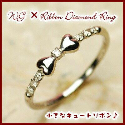 ランキング1位!WGホワイトゴールド天然ダイヤモンドリボンリング【ダイヤモンド...