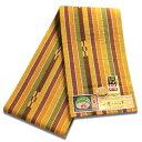 八重山ミンサー織り 送料無料 半幅帯 からし系縞茶絣 伝産マーク 石垣島産本場手織り 永遠の愛の証 みんさー織り