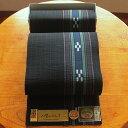 八重山ミンサー織り 送料無料 名古屋帯 黒系 伝産マーク 石垣島産本場手織り ブラック 永遠の愛の証 みんさー織り