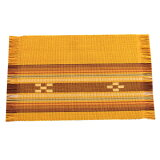 八重山ミンサー織り 新柄小マット(柄が少し変わりました)ランチョンマット イエロー系 石垣島産本場手織り 黄色 永遠の愛の証 みんさー織り