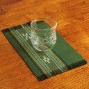 八重山ミンサー織り 新柄小マット(柄が少し変わりました)ランチョンマット グリーン系 石垣島産本場手織り 緑色 永遠の愛の証 みんさー織り